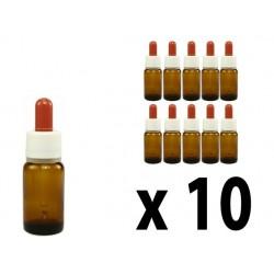 Flacone in vetro scuro 10 ml con contagocce - 10 pz