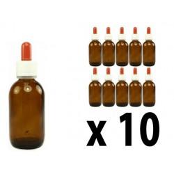 Flacone in vetro scuro 50 ml con contagocce - 10 pz