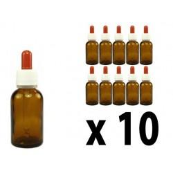 Flacone in vetro scuro 30 ml con contagocce - 10 pz