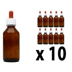 Flacone in vetro scuro 100 ml con contagocce - 10 pz